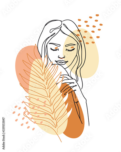 Fotografía Trendy abstract continuous one line woman portrait with palm leaf and geometric shapes