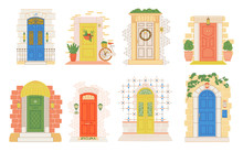 Illustration Of Doors From Different Countries, From Travels. Collection Of European Old Doors. Doodle Vector Style.