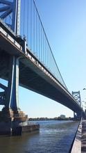 Low Angle View Of Benjamin Franklin Bridge Against Blue Sky
