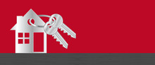 Real Estate. Vector Header Banner With Silver Home And Keyring. Vector Background.
