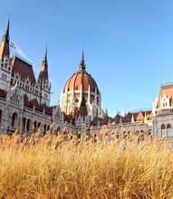 Low Angle View Of Hungarian Parliament Building