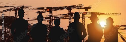 Carta da parati multiexposure construction industrial background of shadow of construction proje