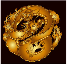 Gold Dragon In Circle Tattoo.infinity Chinese Dragon.Traditional Japanese Dragon Isolate On Black Background.