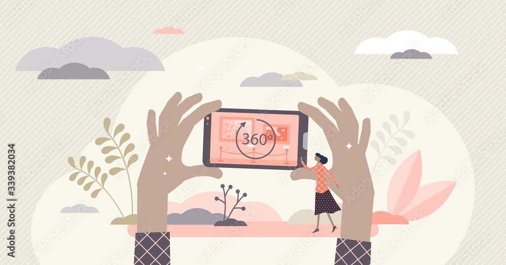 Fototapeta Virtual tour vector illustration. 360 round symbol flat tiny person concept