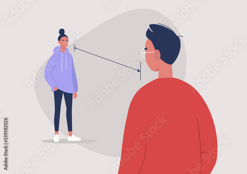 Fototapeta Social distancing during the coronavirus outbreak, 6 feet distance, two characters standing in front of each other obraz