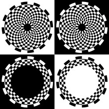Checkerboard Spiral Design Patterns And Frames, Four Black And White Checkerboard, Abstract Spiral Design Patterns And Frames With Copy Space.