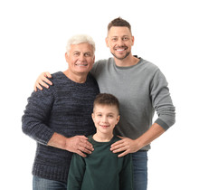 Man With His Father And Son On...