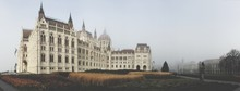 Panoramic View Of Hungarian Parliament Building During Foggy Weather