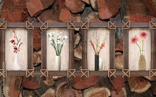 3d illustration, mahogany in logs, a quadriptych of flowers in vases in a wooden Canvas Print