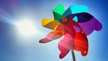 Low Angle View Of Pinwheel During Sunny Day