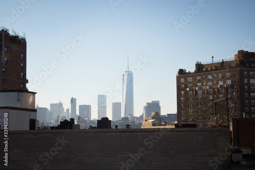 Distant View Of One World Trade Center Against Clear Sky Canvas Print