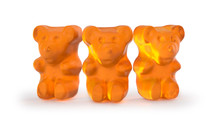Gummy Bears Candy. Delicious, Chewy Jelly Orange Bears. Yummy Gelatin Candy. 3D Rendering. Isolated On White.