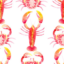 Seamless Pattern With Watercolor Crab, Lobster