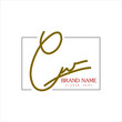 """Signature logo, initial """"E"""" signature with frame, brand and white background"""