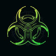 Futuristic Biohazard Sign On A Dark Background.