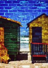 Close Up Of Colorful Changing Huts On The Beach In Muizenberg In Cape Town