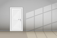 Interior Of Grey Wall With Closed Door. Classic Room Concept. Vector Illustration.