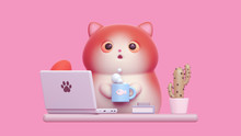 Surprised Little Kawaii Red Cat With Open Mouth, Big Orange Eyes Working From Home With Laptop. Cartoon Funny Fat Cat With White Belly, Striped Tail Holding Warm Cup Of Tea. 3d Render On Pink Backdrop