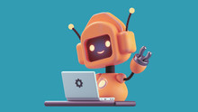 Friendly Positive Cute Cartoon Orange Robot With Smiling Face Waving Its Hand. Chatbot Greets. Customer Support Service Chat Bot. Robot Assistant, Online Consultant. 3d Illustration On Blue Background