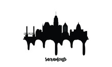 Sacramento Black Skyline Silhouette Vector Illustration On White Background With Dripping Ink Effect.