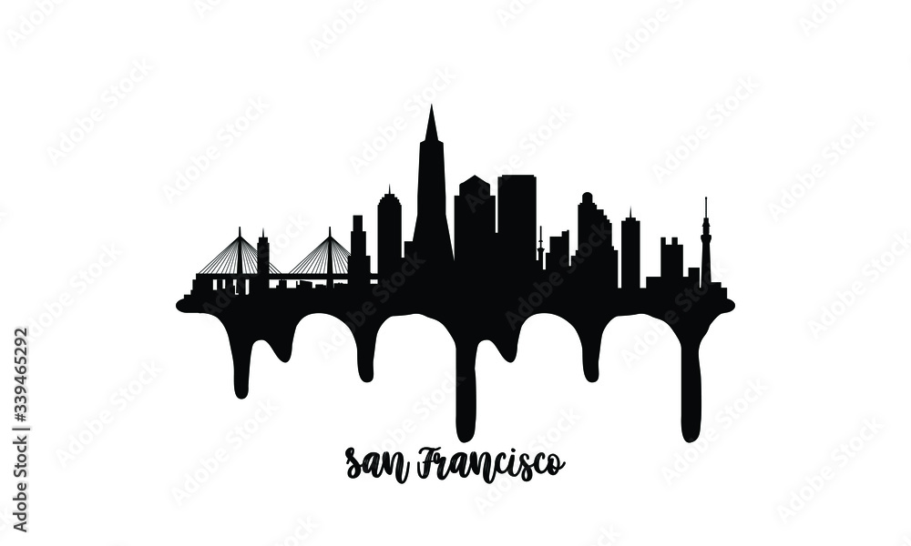Fototapeta San Francisco USA black skyline silhouette vector illustration on white background with dripping ink effect.