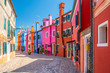 Colorful houses in downtown Burano, Venice, Italy