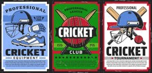 Cricket Sport Game Equipment Vector Vintage Posters, Sport Club Championship And Team Cup Tournament. Cricket Professional Equipment Shop For Players, Bat And Balls, Outfit Garments, Hats And Footwear