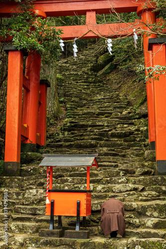 Fototapeta Kamikura Shrine and a pilgrim
