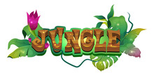 Jungle Flat Banner Vector Template. Tropical Rainforest. Exotica Foliage. Lush Greenery With Blooming Flowers. Fantasy Adventure In Woods. Sticker Lettering Isolated On White Background