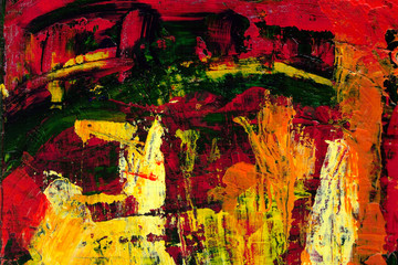 Abstract art background. Acrylic painting. Fragment of the canvas. Multicolor red and yelliow texture. Modern Art.