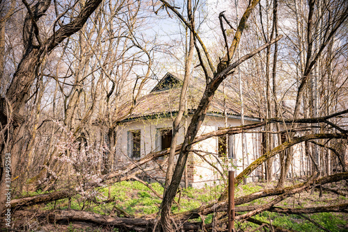 Building of abandoned kindergarten in destroyed village of Kopachi 10-km Chernob Canvas Print