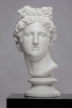White Plaster Statue Of A Bust Of Apollo Belvedere On A Gray Background
