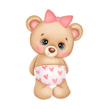 Cute Teddy Bear Girl With A Pink Bow And Hearts On A White Background