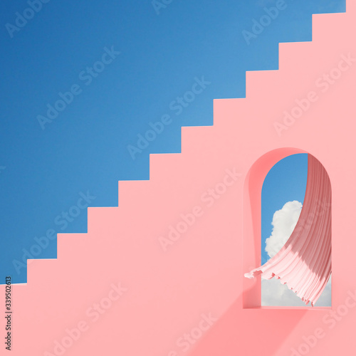 Minimal abstract building with arch window and flow curtain on blue sky background, Architectural design with shade and shadow on pink texture Canvas Print