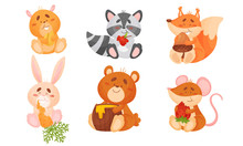 Animals Sitting And Eating Fruit And Vegetables Vector Set.