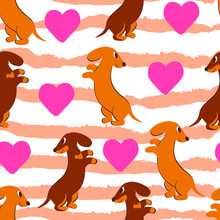 Dogs, Puppies, Love, Cute Childish Hand Drawn Vector Seamless Pattern . Concept For Wallpaper, Wrapping Paper, Cards