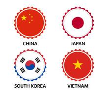 Set Of Four Chinese, Japanese,...