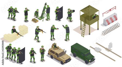 Military Elements Icon Set Wallpaper Mural