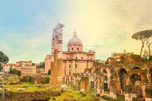 Obraz na plátně Old Ruins At Roman Forum Against Sky