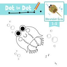 Dot To Dot Educational Game And Coloring Book Horseshoe Crab Animal Cartoon Character Vector Illustration
