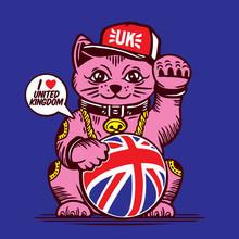 Fortune Lucky Cat UK Union Jack Flag United Kingdom