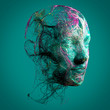 Leinwanddruck Bild - Neurology, philosophy, medicine of the future: neural connections, the development of thought and reflection, how to develop the infinite possibilities of the brain and mind. Human anatomy, 3d render