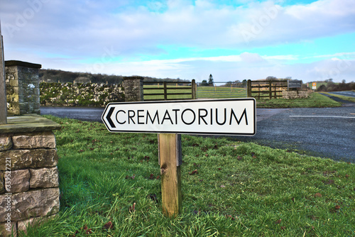 Fotografering Crematorium sign at Beetham Hall Cumbria UK