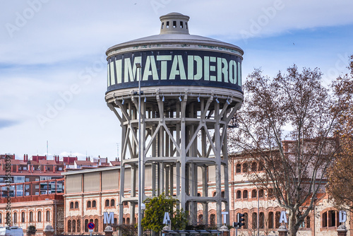 Photo Water tank next to entrance to cultural area of Matadero, former slaughterhouse