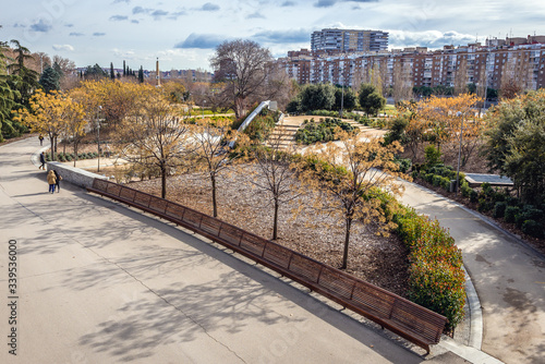 Photo View on the Arganzuela Park, part of Madrid Rio recreational area in Madrid city