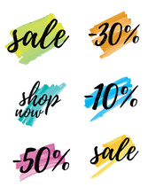 Sale. Simple Discount Sticker Set. 10% Off, 30% Off And 50% Off. Shop Now. Special Offer Tags. Black Letters On A Brushed Yellow, Blue, Pink And Green Layouts.  Vector Discount Symbols.