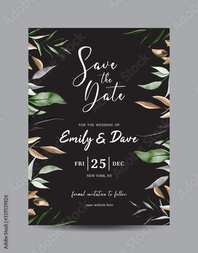 Floral Save the Date Card Template Vector Canvas-taulu