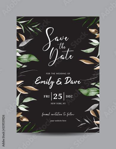 Vászonkép Floral Save the Date Card Template Vector