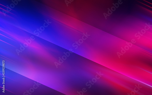 Obraz Abstract dark background with blue and pink neon glow. Neon light lines, waves. - fototapety do salonu