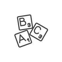 Alphabet Letters Line Icon. Li...